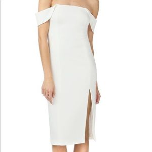Jay Godfrey Downiest Midi Dress in White/Ivory